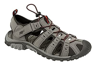 Mens PDQ Toggle & Touch Fastening Sports Trail SandalsDark Grey/Red size 6 UK