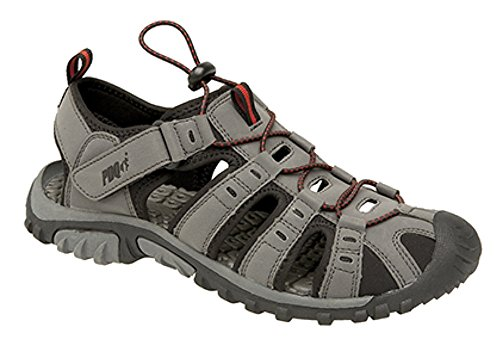 Herren PDQ Toggle & Touch Verschluss Sport Trail Sandalen, Grau - Dark Grey/Red - Größe: 44