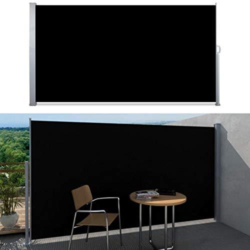 SVITA Seitenmarkise Kassetten-Rollo Sichtschutz Sonnenschutz Seitenrollo für Balkon Terrasse Garten in Schwarz,Grau, Beige 160 x 300 cm, 180 x 300 cm, 200 x 300 cm (200 x 300 cm, Schwarz/Anthrazit)