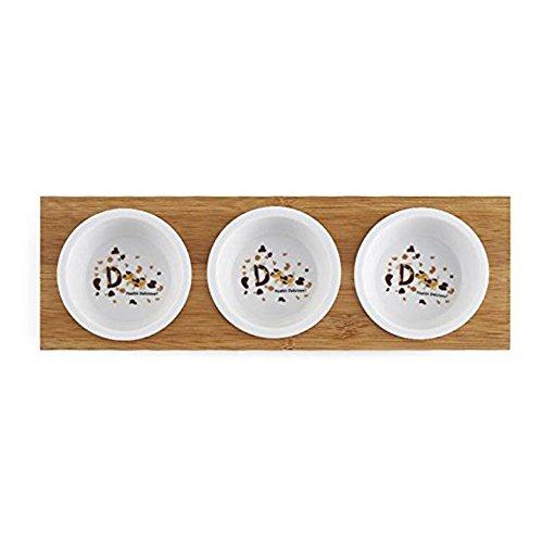 Blury ciotola tripla in ceramica per cibo o acqua con supporto in bambù di buona altezza ciotola rialzata di cane removibile pet feeder pratico per cuccioli cani piccoli gatti s