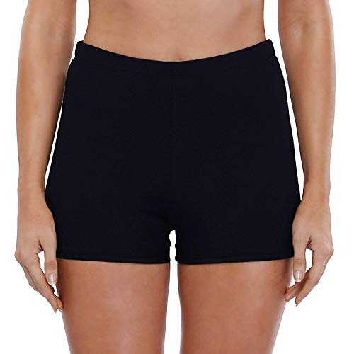 Avacoo Badeshorts Badehose Damen High Waist Bikinihose Schwimmhose Sport Bikini Shorts UV Schutz Bade Hotpants Schwarz 36 S UK8