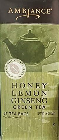 1.8oz Ambiance Honey Lemon Ginseng Green Tea, 25 Tea Bags (One Box)