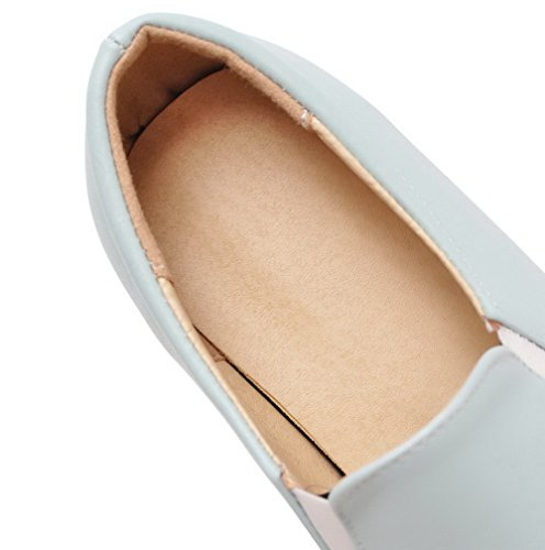 VogueZone009 Femme Pu Cuir à Talon Correct Rond Couleur Unie Tire Chaussures Légeres Bleu