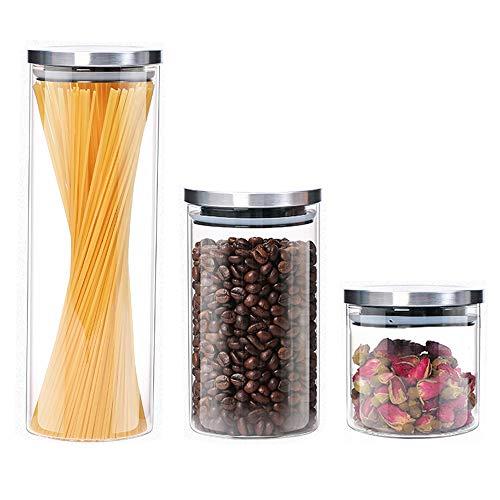 Grandwish 3er Set Glas Vorratsdosen mit Deckel, Vorratsgläser küche für Lebensmittel (0.5 L + 1 L + 1.8 L) 0.5 Liter Container