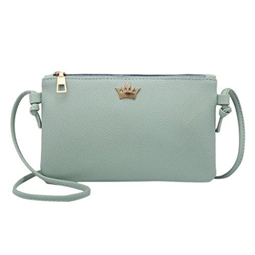 (Damen Frauen Mädchen Leder Crossbody Tasche Reine Farbe Schultertasche Messenger Bag Münztasche (Grün))