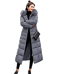 Cokil Manteau d hiver Dames Long Manteau Chaud à Capuche matelassé Fourrure  Artificielle avec Ceinture 6fb55858b6dd