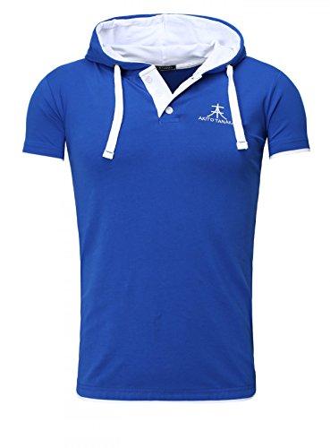 Akito Tanaka Herren Kontrast Polo T-Shirt mit Knopfleiste und Kapuze Hooded Bruststick Contrast Blau-Weiß