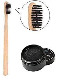 Oshide 30g Activated Charcoal Natural Teeth Whitening Powder With Natural Bamboo Toothbrush