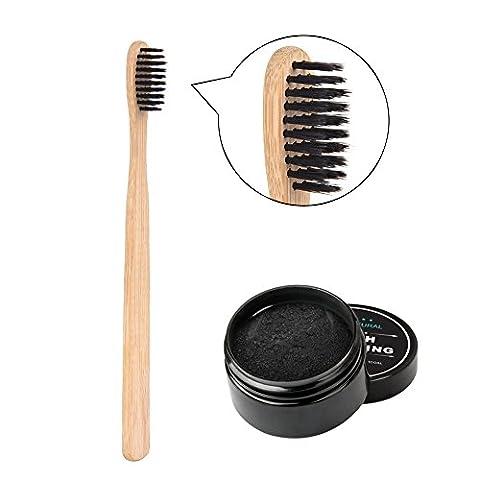 Oshide Poudre de blanchiment des dents au charbon actif naturel,Poudre de charbon naturel pour le blanchiment des dents avec une brosse à dents en bambou écologique