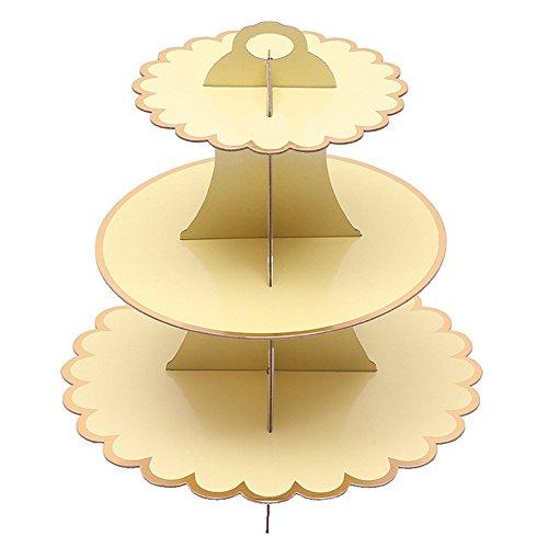 Bronzing Monochrome 3stöckig Dessert Cupcake Display Halterung für Hochzeit Geburtstag Party gelb
