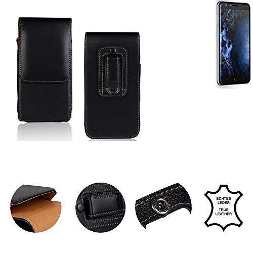 K-S-Trade® Gürtel Tasche Für Doogee Y6 4G Handy Hülle Gürteltasche Schutzhülle Handy Tasche Schutz Hülle Handytasche Seitentasche Vertikaltasche Etui, Leder Schwarz, 1x