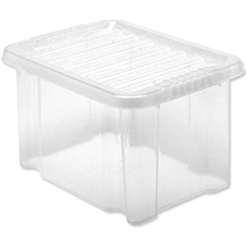 5 Star Storage Box Plastic with Lid Stackable 24 Litre Clear Ref 12450  sc 1 st  Amazon UK & 5 Star Storage Box Plastic with Lid Stackable 24 Litre Clear Ref ...