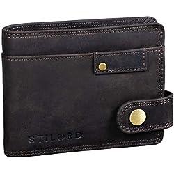 STILORD 'Finley' Cartera de Cuero para Hombres Protección RFID y NFC con Botón Pulsador Billetera con protección, Color:marrón Oscuro