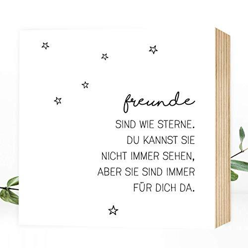 Wunderpixel® Holzbild Freunde sind wie Sterne - 15x15x2cm zum Hinstellen/Aufhängen, echter Fotodruck mit Spruch auf Holz - schwarz-weißes Wand-Bild Aufsteller zur Dekoration oder als Geschenk-Idee