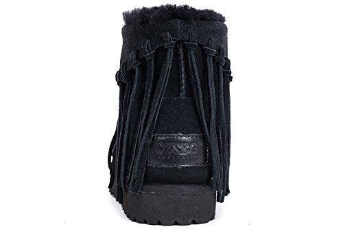 OZZEG Peau de mouton bottes neige Long Tassel mode hiver chaussures chaudes Ladies' doublure Noir