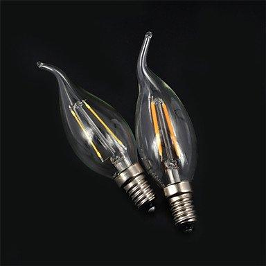 FDH E14 2W, 180LM calentar/enfriar vela Blanca bombillas LED lámpara de incandescencia de 360 grados (85-265 V),Cool White