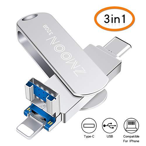 32 GB 3-in-1 USB-Flash-Laufwerk, Speichererweiterung Multi-Funktionen USB-Stick kompatibel für iPhone/Android/Windows (32 GB)