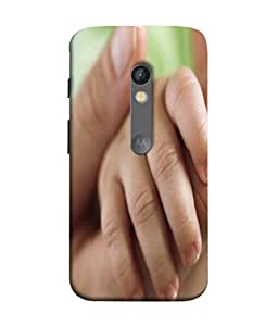 Printvisa Hand of Baby in The Hand of Mother Closeup Print Designer Back Cover for Motorola Moto X Play