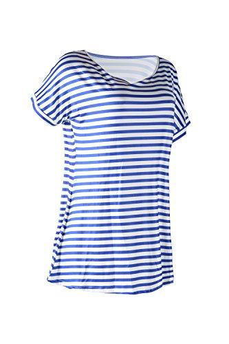 Frauen Ist Lässig, Kurze Ärmel Streifen - T - Shirts Blue