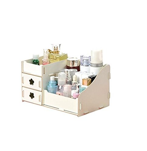 Kingken platzsparend einfach Holz Kosmetik Storage Box Desktop Speicher Fall Make-Up Behälter (weiß)