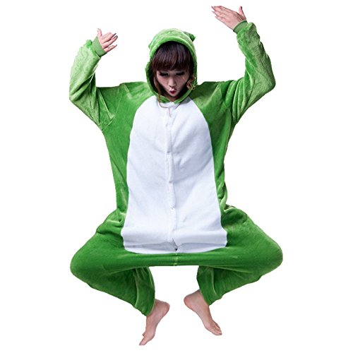 Misslight Einhorn Pyjama Damen Jumpsuits Tieroutfit Tierkostüme Schlafanzug Tier Sleepsuit mit Einhorn Kostüme Festival tauglich Erwachsene (M, Frosch) (Kostüm Erwachsene Für Frosch)