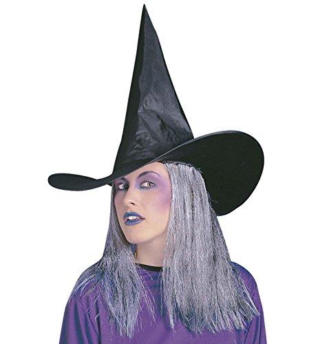 Schwarzer Hexen Hut mit grauem Kunsthaar (Hut Haaren Schwarze Hexe Mit)