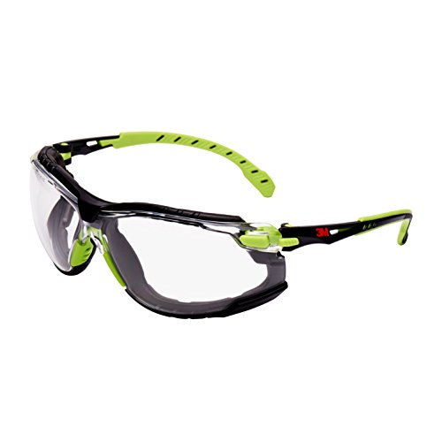 3M Solus Safety Glasses, Grün/Schwarz frame, Scotchgard Anti-Fog, Clear Lens, S1201SGAFKT-EU