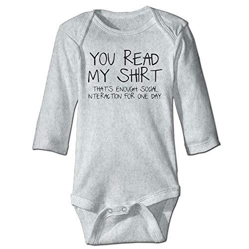 Unisex Infant Bodysuits You Read My Shirt Baby Babysuit Long Sleeve Jumpsuit Sunsuit Outfit Ash Preemie-shirt