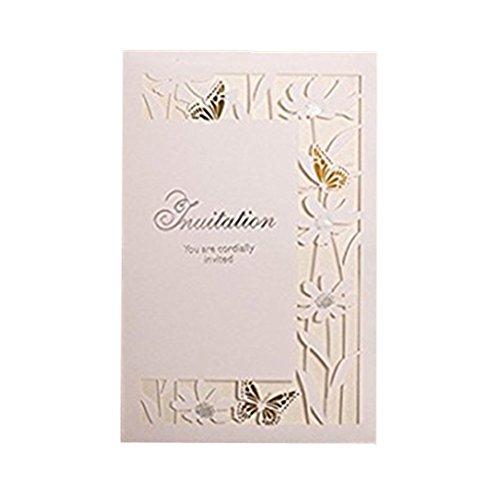 Farbe Schmetterling Laser Cut quadratisch Hochzeit Cocktail Party Einladungen Karten-Set mit Spitze Blumen für Verlobung Geburtstag Bridal Dusche Baby Dusche (50PCS) (Baby-dusche-cocktails)