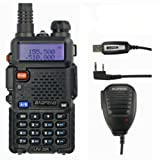 Baofeng UV-5R 2M/70CM 136-174/400-480MHz VHF/UHF Dualband Amateurfunk Handfunkgerät FM 65-108MHz Transceiver Radio (USB ProgrammierKabel und Remote Speaker Mikrophon enthaltend)