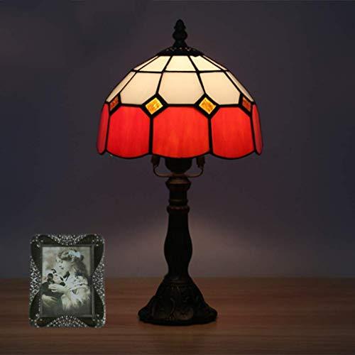 Red Art-glas-tisch-lampe (Tiffany Stil Tischlampe, 8-Zoll-europäische Art Minimalist Glas Dekorative Schreibtischlampe mit Zink-Legierung Basis, Retro Tischleuchte, Tiffany-Lampe -Red)