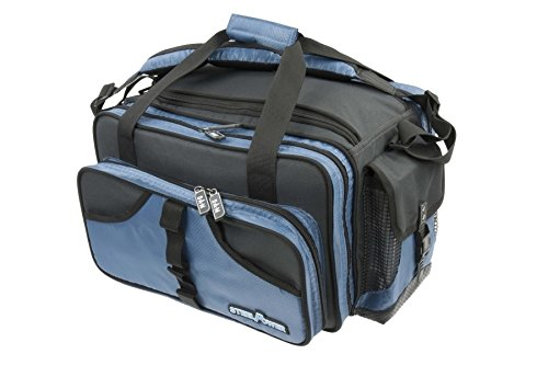 DAM STEELPOWER BLUE - Pilk- und Ködertasche, 18 PVC Röhren, 2 Boxen, viele Fächer, Schultergurt, wasserfester Anti-Rutschboden, 50x35x30cm -