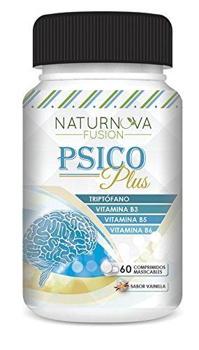 Naturnova – Triptófano con Vitaminas B3, B5 y B6 para ayudar a regular el estado de ánimo y aliviar el estrés – Triptófano con vitaminas que mejora tu rendimiento intelectual – 60 comprimidos sabor vainilla