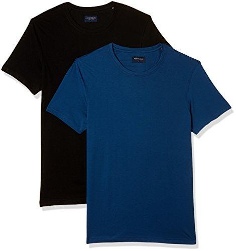 Peter England Men's Solid Slim Fit T-Shirt (EKC51610093_Dark Blue and Black_Large)(Pack of...