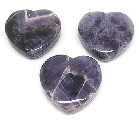 Purple Amethyst Heart Shape 30 x 30 mm with Bore