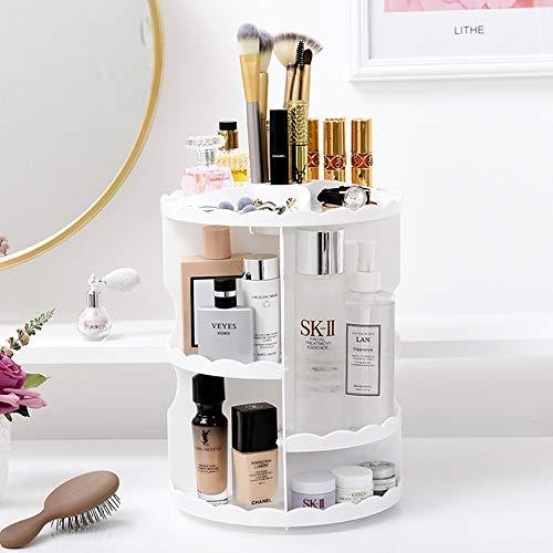 LGF Storage Box Runde kosmetische Aufbewahrungsbox große Kapazität Make-up Aufbewahrungstasche 360   Grad rotierenden Spind Platz Kommode Schlafzimmer Badezimmer,White -