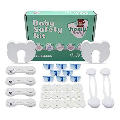 HOMYBABY Kit Seguridad Bebe | Producto Certificado (CE) | 12 Protector Enchufes para Bebes, 8 Protector Esquinas, 4 Seguro Cajones Bebe, 2 Cerraduras de Seguridad Niños, 2 Protector Puertas Bebe