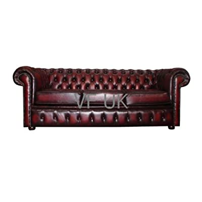 Chesterfield Antique Ox Blood Red Genuine Leather 3 Seater Sofa from Chesterfield
