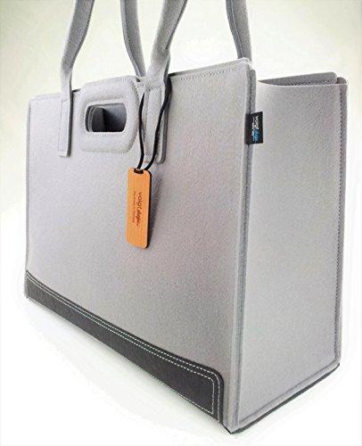 Filz-Tasche Lady Bag XL 45x18x30cm (grau) - Shopper Bag - Einkaufstasche - Handtasche - Freizeittasche - Shoppingtasche - Einkaufsshopper (Shopper Lady)