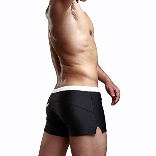 Vicloon Mens Flat Swim Trunks Hosen Erwachsene Shorts Slim Schwimmen Board Shorts mit Tasche an der Rückseite Schwarz