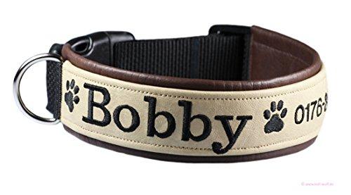 Bell-Wuff individuell besticktes Halsband in hochwertiger Handarbeit gefertigt Größe Breite ca. 25 mm - Umfang 25-28 cm (Hundehalsband Bestickt Name)
