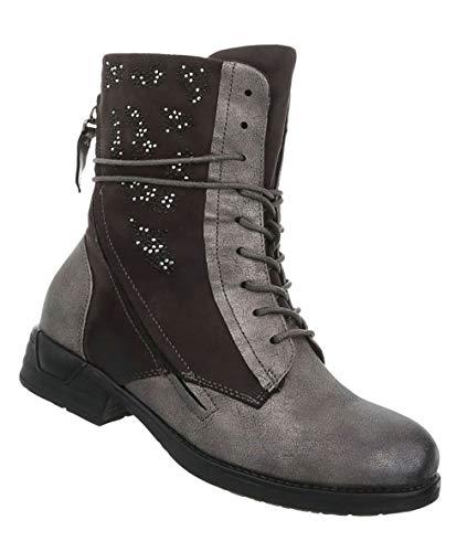 Damen Schuhe Stiefeletten   Schnürstiefel Halbschaft   Boots Stiefel   Combat Boot   Strass...