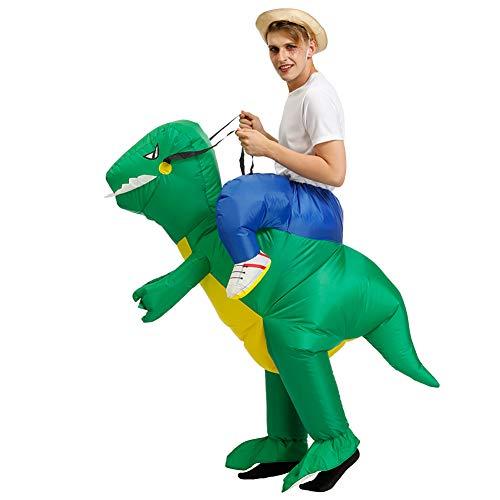 Blow Dinosaurier Kostüm Up - MSQL Aufblasbares Dinosaurier Kostüm, Halloween Kostüm Blow Up Party Cosplay Kostüm, Uneingeschränkte Bewegungsfreiheit, Schnelle Expansion,Grün,XL