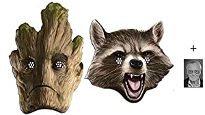 Mask Pack - Rocket Raccoon and Groot Marvel Guardians of the Galaxy Card Face Mask Pack of 2 includes 6x4 inch (15cm x 10cm) Star Photo from BundleZ-4-FanZ Fan Packs