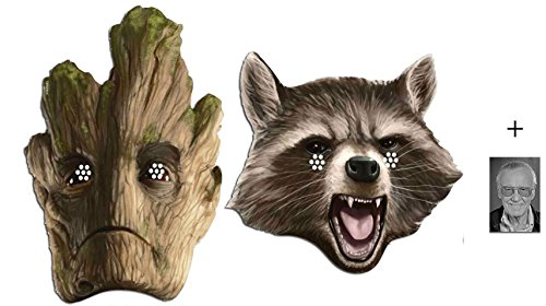 Rocket Raccoon und Groot Marvel Guardians of the Galaxy Karte Partei Gesichtsmasken (Maske) Packung von 2 - Enthält 6X4 (15X10Cm) ()
