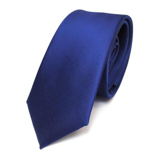 TigerTie Schmale Satin Krawatte blau royalblau uni einfarbig Polyester Designer-outfit
