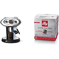 Francis Francis for Illy X7.1 Expresso Coffee Maker, Black with illy Iperespresso Filter Style Coffee Medium Roast Capsules, 18-Count (Pack of 6)