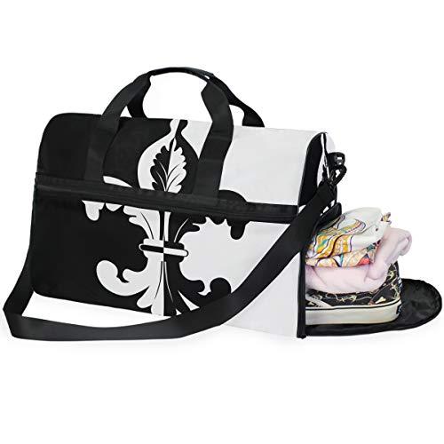 Dallonan Große Kapazität Reisetasche schwarz und weiß Fleur de Lis Duffel Bag Gym Schuh Fach Sport Tote Bag Handtasche Gepäck Bag (Fleur Di Lis Gepäck)