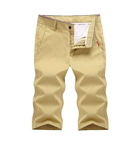 YuanDian Uomo Estate Casual Tinta Unita Cerniera Chino Pantaloncini Straight Sottile Ginocchio Lunghezza Shorts Pantaloni Corti Bermuda Cachi