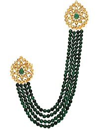 9e29a3cba1 Sanjog Impressive Golden Kundan Stone With Hanging Green Pearl Party Brooch  For Men/Boys